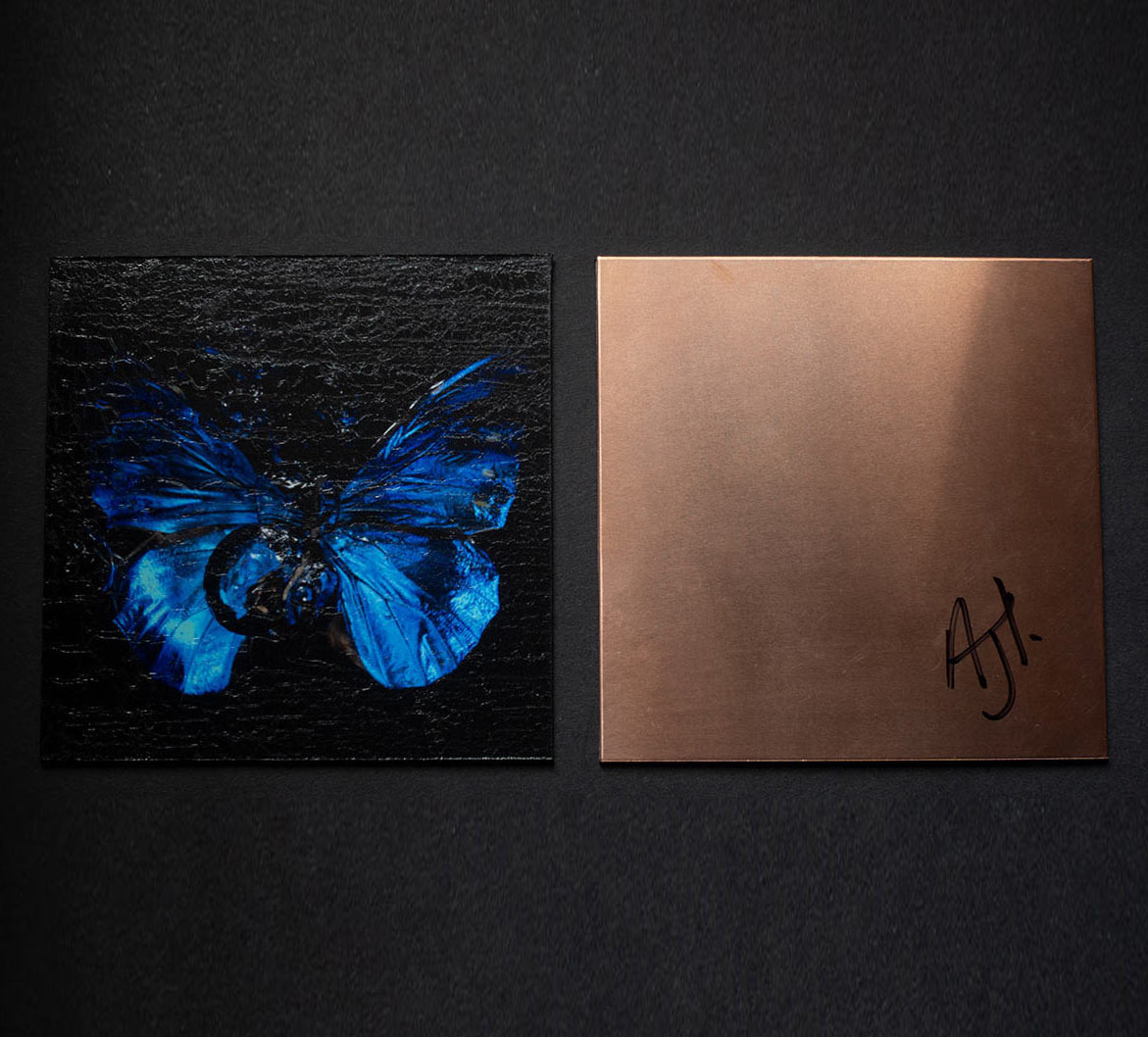 each a unique 10 x 10 cm chromogenic print mounted onto pure recycled copper