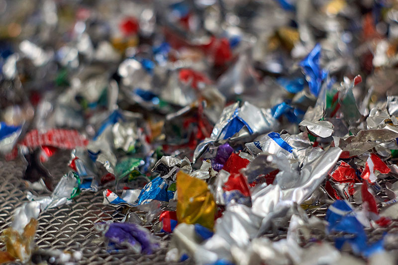 aluminium flakes waiting to be recycled in the artists studio
