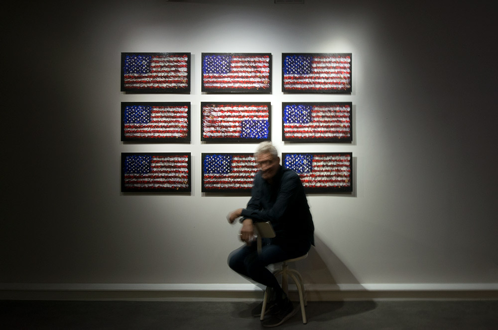underwater american flags appear in art exhibition london