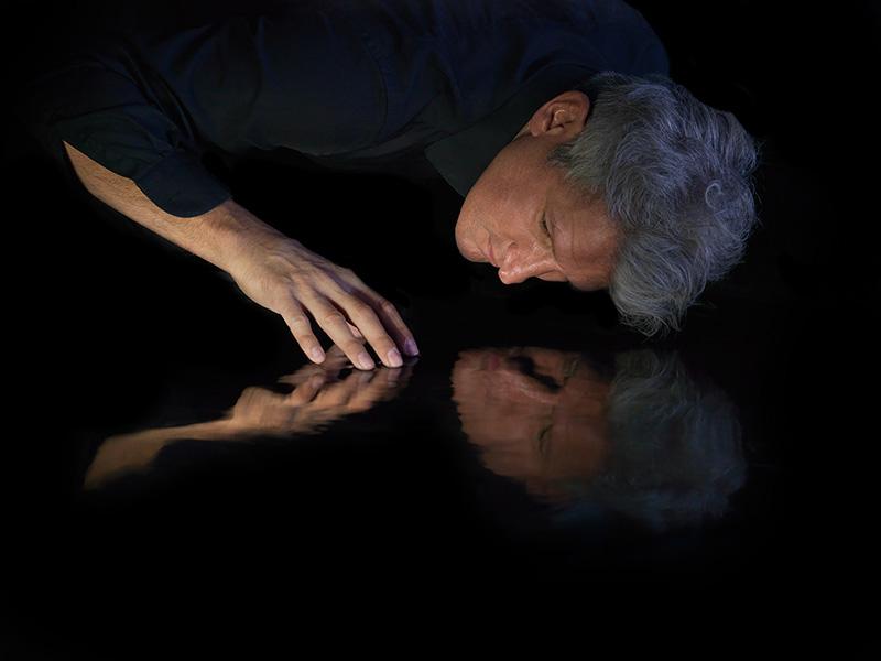 underwater blackwater reflection portrait of the artist