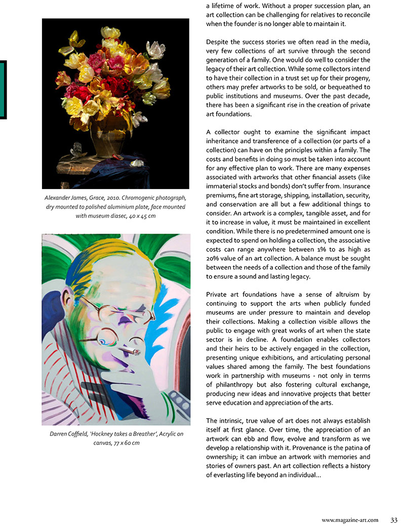 Art & Museum Magazine discussing art and investment facts and information for investors