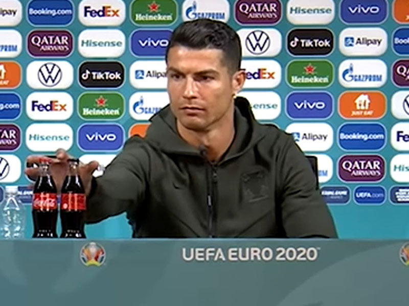 Cristiano Ronaldo fights back against corporate brand placement of sugared drinks