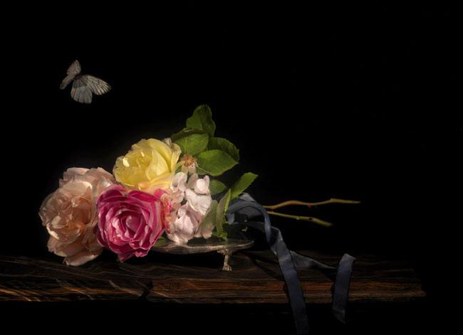 underwater sculpture of flowers captured on film