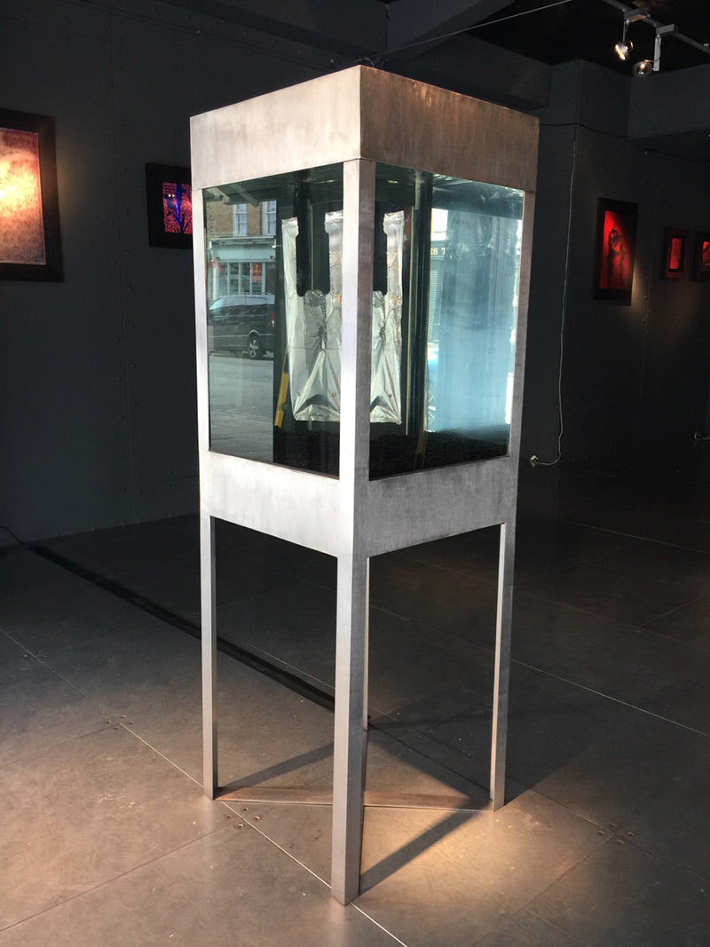 perpetual installation 316G S/Steel and glass vitrine case, water and floating plastic bag