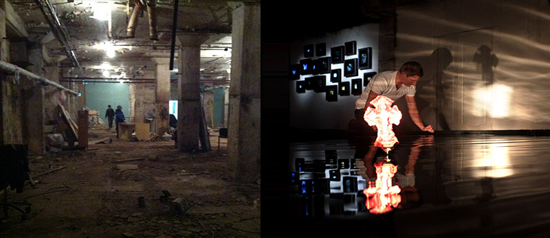 artists underwater black water reflection poll experiments in Moscow