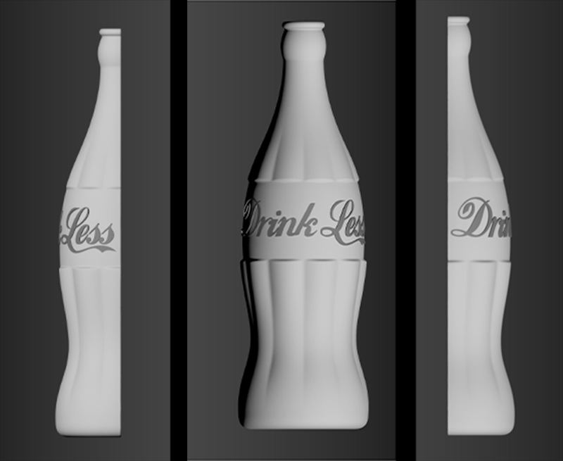Coca Cola is the target here with a rebranded 3d render model of a classic coke glass bottle