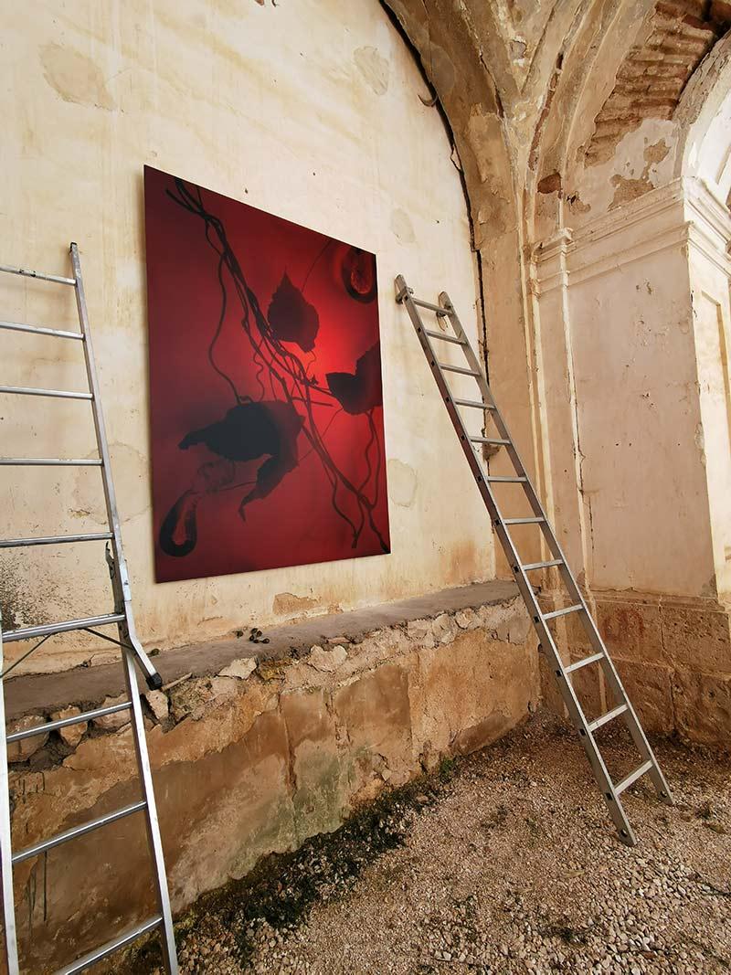 artwork installed at convento de los carmelitas budia artist design install hanging system large format photographic works on paper DiBond mounted prints