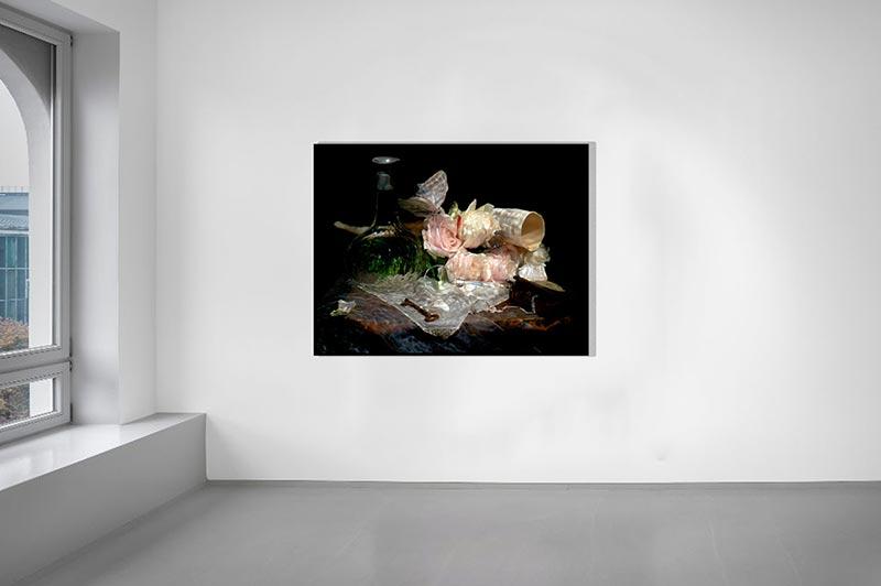 gallery hang of large format vanitas work