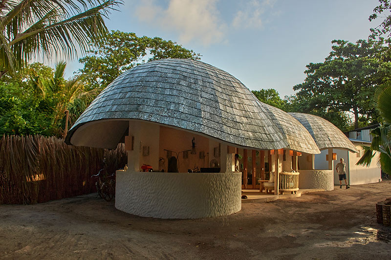 a carbon neutral recycling studio in the maldives conceived designed and built by artist Alexander James Hamilton