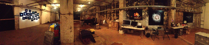 wide interior view of the artists flooded underground studio in moscow collaborating with Triumph Gallery