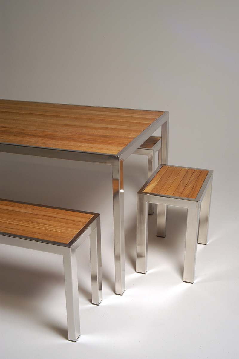 table bench seats and stools hand made in stainless steel and ironwood