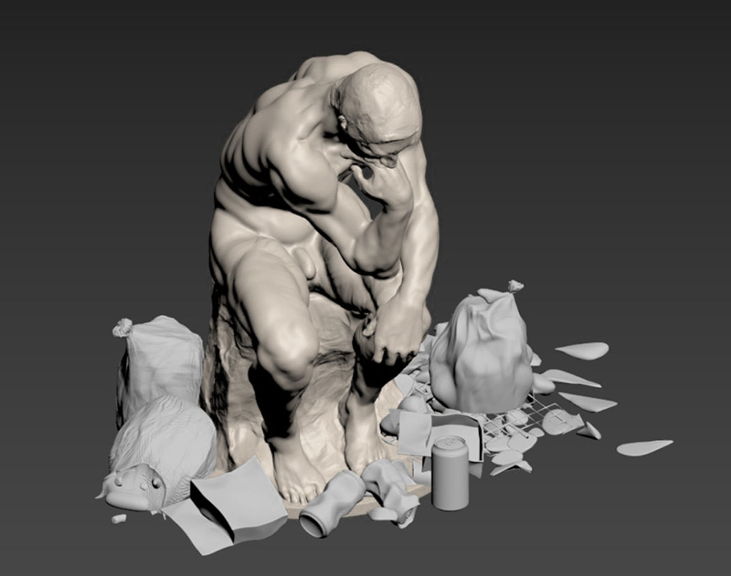 what would Rodin's The Thinker be contemplating in a modern world reinterpreting the great masters